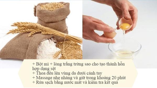 tẩy lông nách bằng bột mì, cách tẩy lông nách bằng bột mì, triệt lông nách bằng bột mì, cách triệt lông nách bằng bột mì