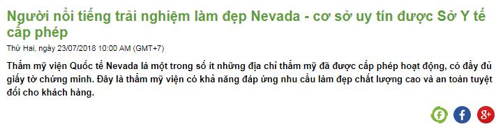 Những thông tin tích cực của Nevada xuất hiện trên báo chí
