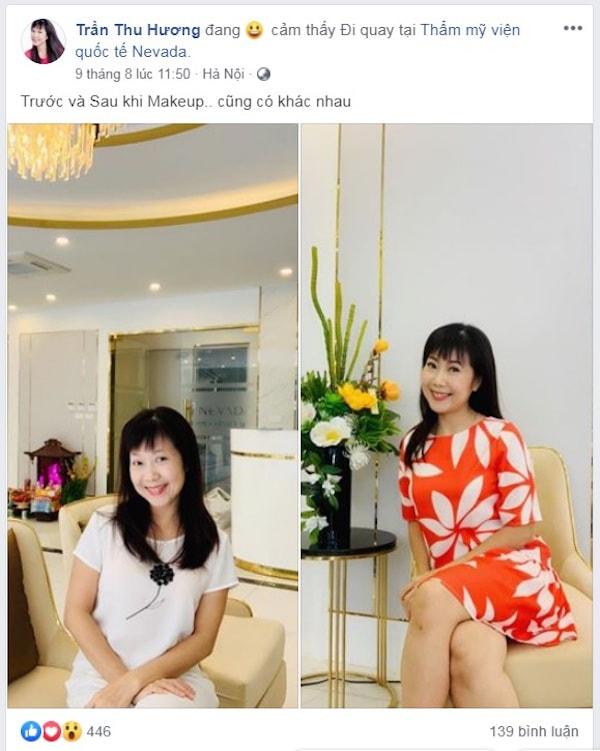 Diễn viên Thu Hương hài lòng sau liệu trình giảm béo Max Burn Lipo tại Thẩm mỹ viện Quốc tế Nevada