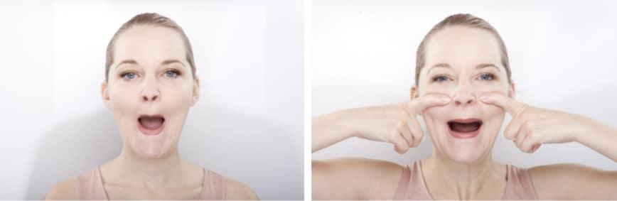 Bài tập này củng cố cơ tròn quanh miệng, giảm nếp nhăn ở mũi và làm đầy má hóp