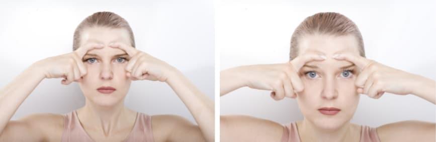 Bài tập này rèn luyện các cơ phẳng trên trán, giảm căng thẳng trên gốc mũi, giảm nếp nhăn trên trán và nâng cao lông mày