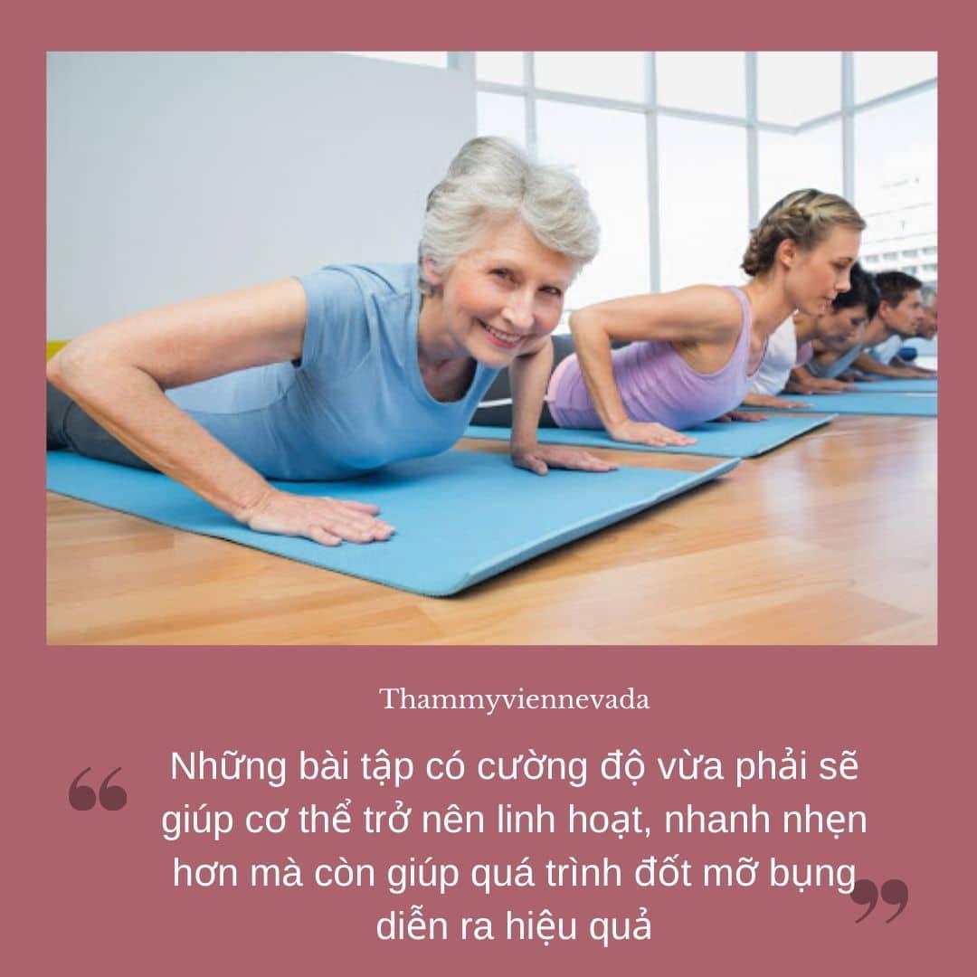 giảm mỡ bụng tuổi 50, giảm cân tuổi 50, giảm mỡ bụng cho phụ nữ tuổi trung niên