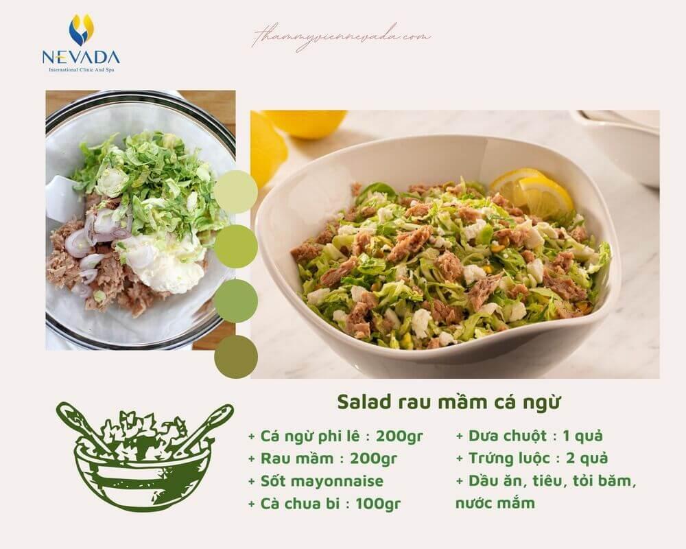 salad rau mầm giảm cân, ăn salad rau mầm có giảm cân không, rau mầm giúp giảm cân, cách làm salad rau mầm giảm cân